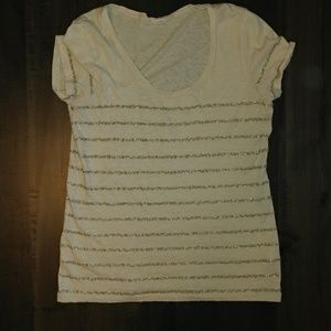 J. Crew Tee Gold Sequins Small